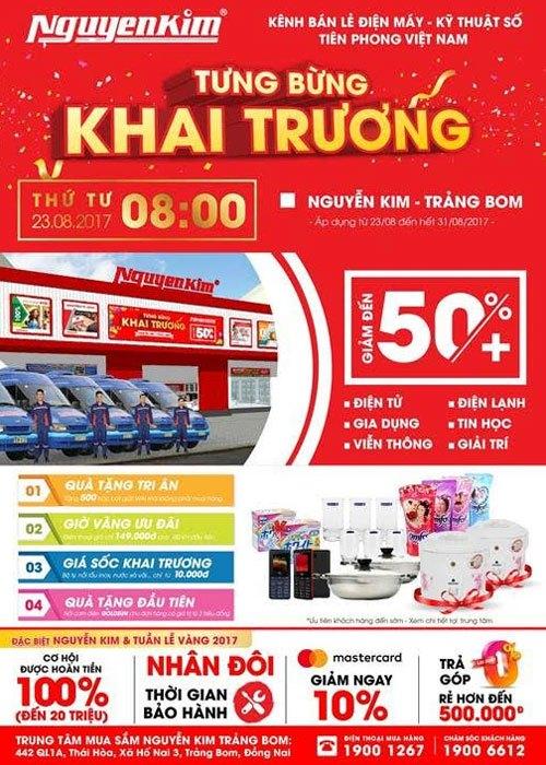 Nguyễn Kim Trảng Bom sẽ chính thức khai trương vào 23/08 với nhiều ưu đãi hấp dẫn dành tặng khách hàng
