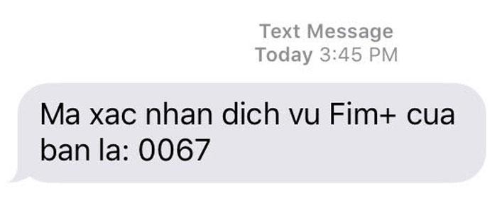 Mã kích hoạt sẽ được gửi đến số điện thoại bạn dùng để đăng ký tài khoản Fim+ trên tivi Samsung