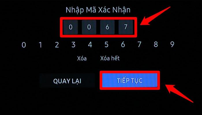 Nhập mã kích hoạt vào ô Nhập Mã Xác Nhận trên tivi Samsung và chọn TIẾP TỤC.