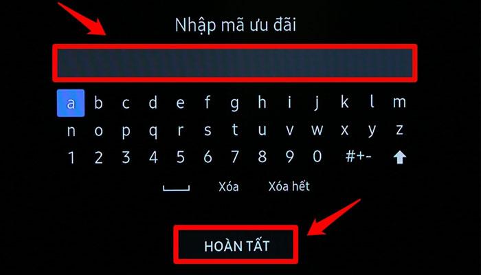 Mã ưu đãi sẽ được cung cấp khi bạn mua tivi Samsung tại Nguyễn Kim và bạn cần nhập mã này vào ô như trên hình và chọn HOÀN TẤT.