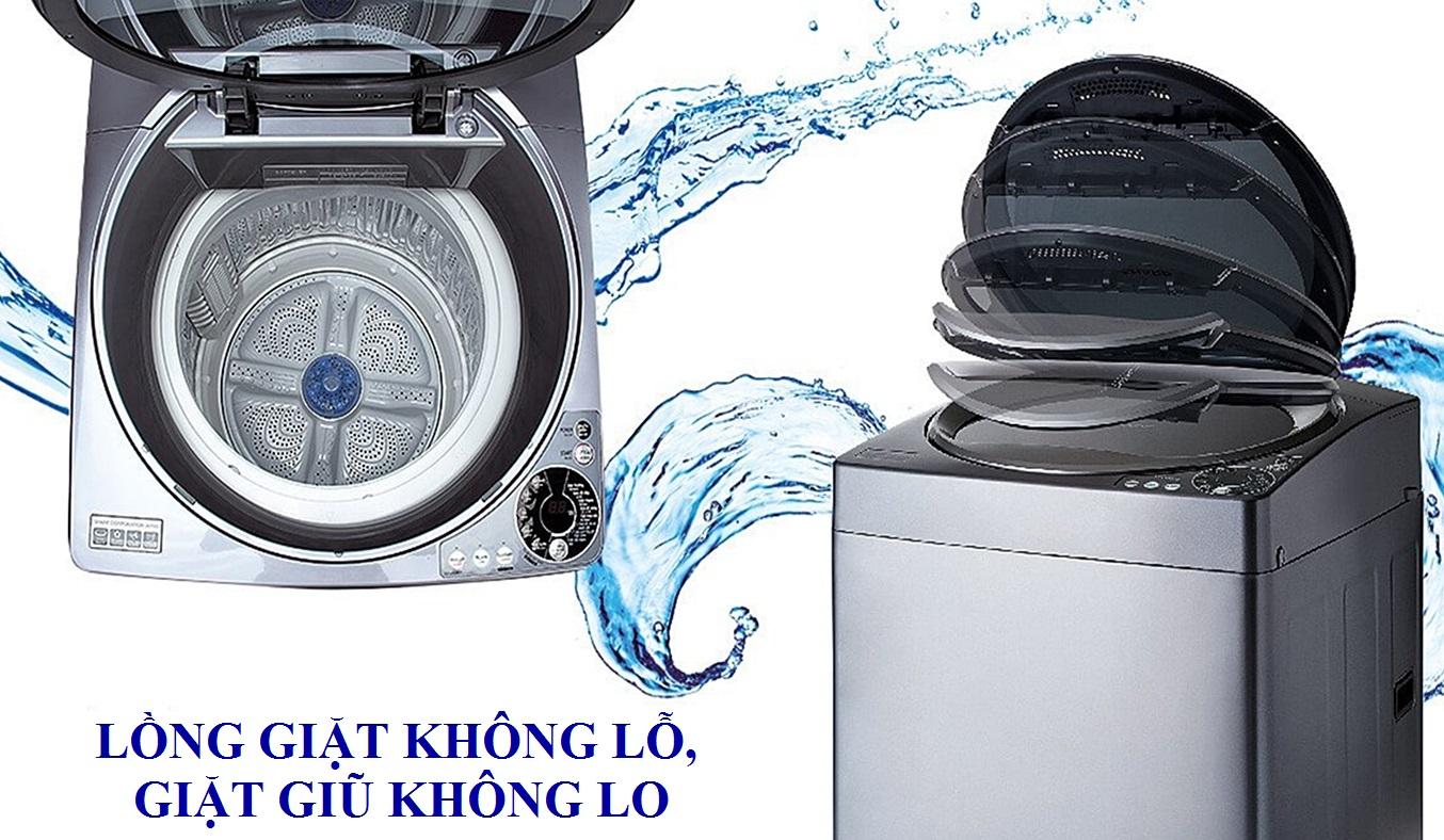 Máy giặt Sharp 9.5kg ES-U95HV lồng giặt không lỗ giặt giũ không lo