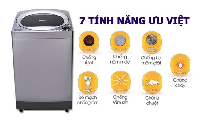 Máy giặt Sharp 9.5kg ES-U95HV 7 tính năng bảo vệ ưu việt