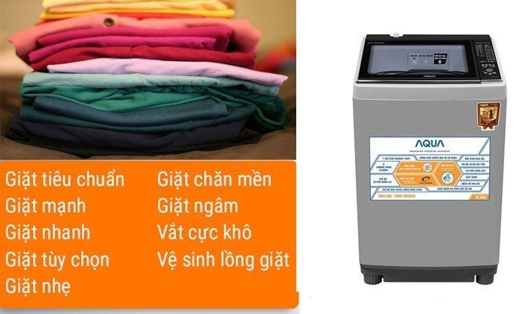 Máy giặt Aqua AQW-FW15AT (S) 9 chế độ giặt sạch tự động để lựa chọn