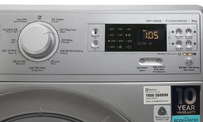 Máy giặt Electrolux EWF12853S 11 chÆ°Æ¡ng trình giặt Äa dạng