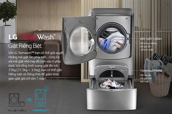 Giặt cùng lúc những chất liệu quần áo khác nhau nhờ trang bị 2 lồng giặt độc đáo
