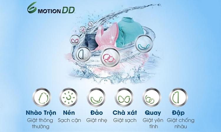 Máy giặt LG FC1408S3E có công nghệ giặt 6 Motions cho quần áo luông sạch sẽ