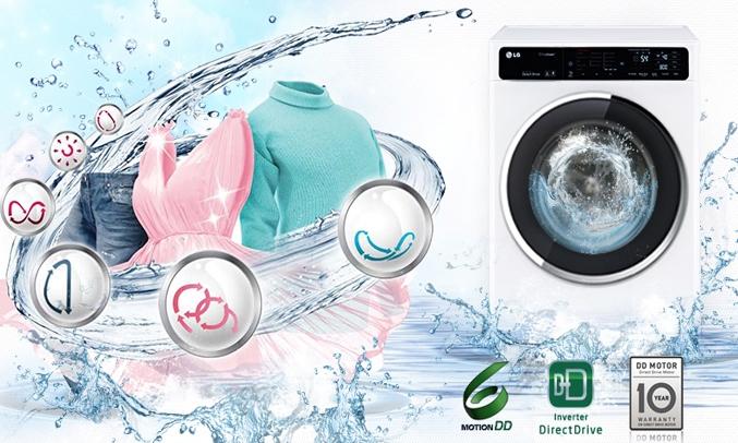 Máy giặt LG FC1409S2E công nghệ giặt 6 motions thông minh