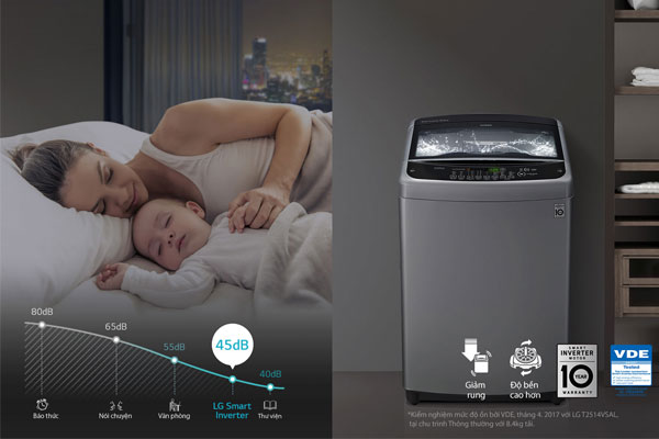 Máy giặt LG sở hữu công nghệ Smart Inverter không gây ồn ào khi hoạt động và có tuổi thọ cao
