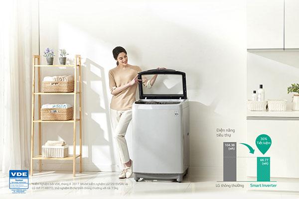 Dòng máy giặt Smart Inverter LG tiết kiệm điện đến 36% so với dòng máy giặt thông thường