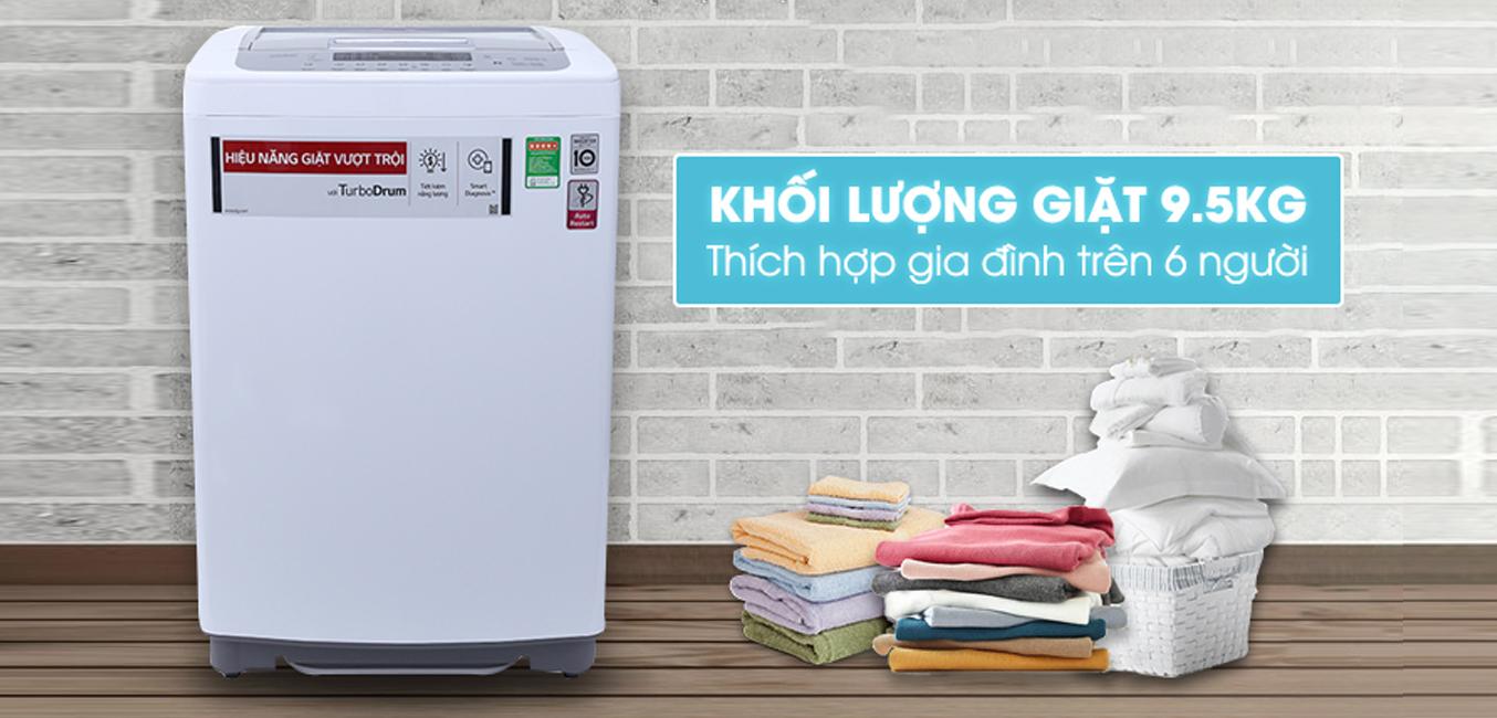 Máy giặt LG T2395VSPW 9.5kg khối lượng giặt lớn