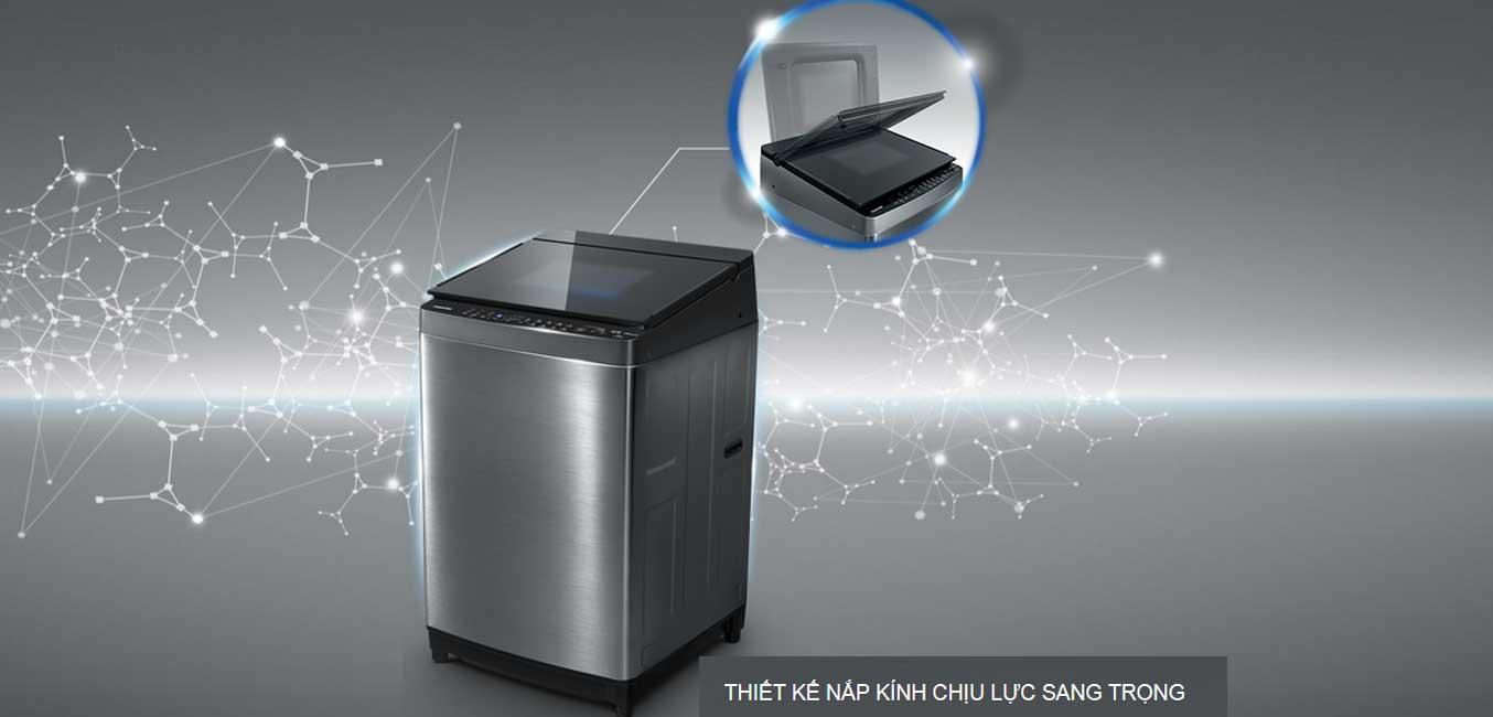 Máy giặt Toshiba AW-DG1600WV (SK) thiết kế hiện đại với nắp máy bằng kính cường lực
