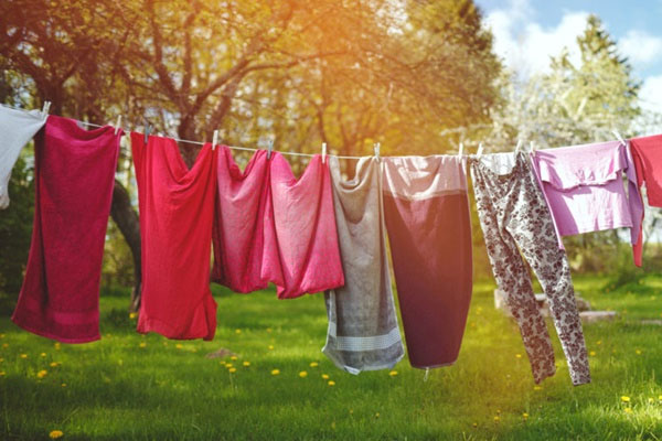 Lấy quần áo khỏi máy giặt ra phơi dưới ánh nắng sau khi giặt bằng nước xả vải