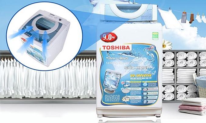 Máy giặt Toshiba AW-DC1005CV (WB) quần áo sạch khô trắng sáng