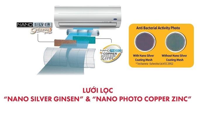 Máy lạnh Carrier 1.5 HP 38CER013-703V/42CER013-703V - Lưới lọc Nano Silver Ginsen