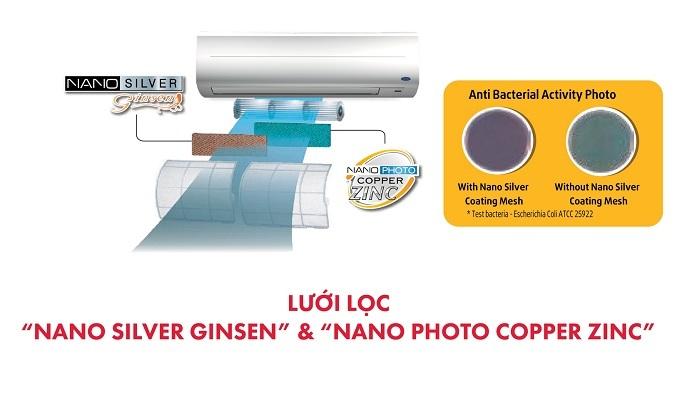 Máy lạnh Carrier 2 HP 38CER018-703V/42CER018-703V - Lưới lọc Nano Silver Ginsen