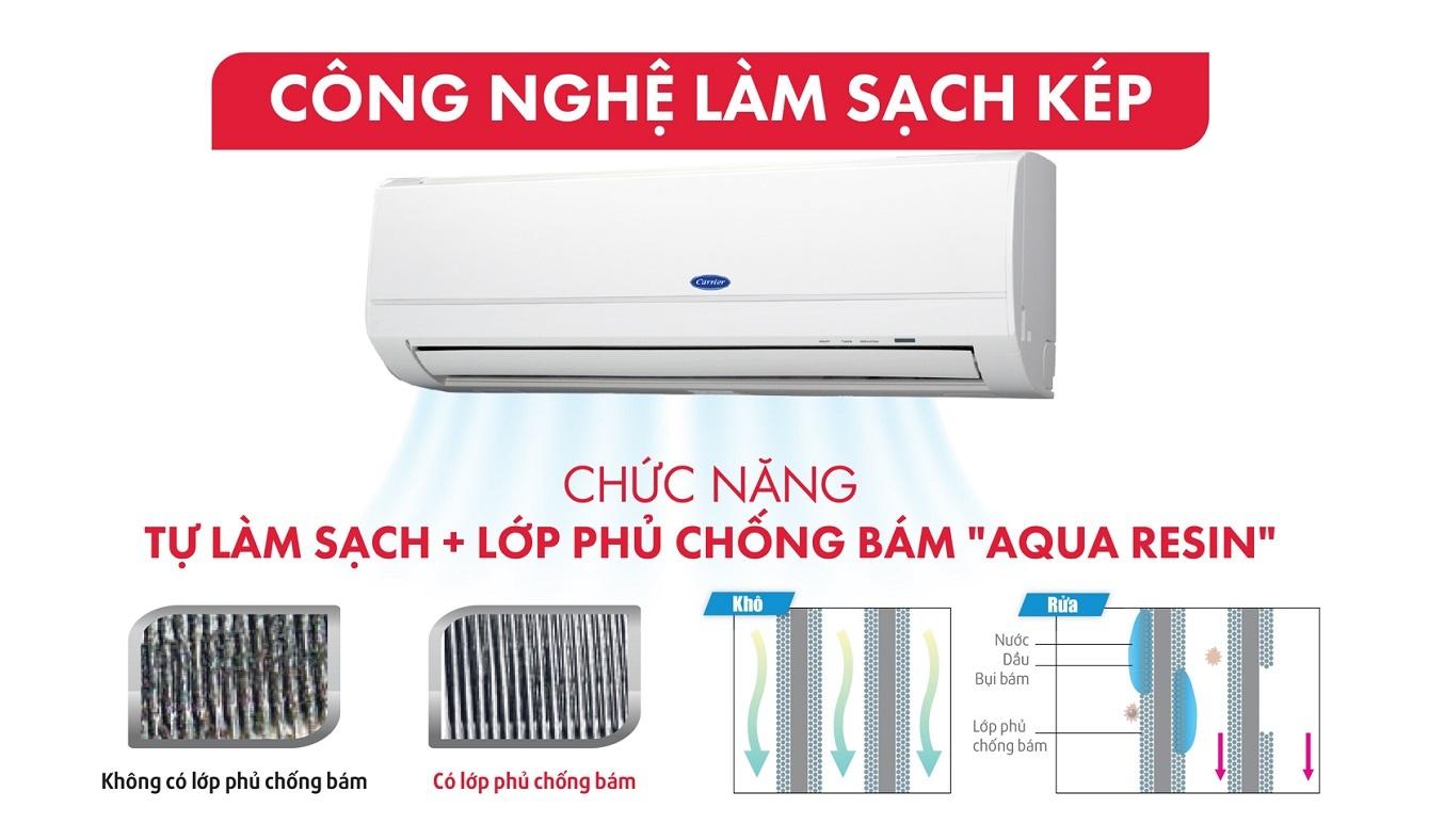 Máy lạnh Carrier Inverter 1 HP 38GCVBE010-703V/42GCVBE010-703V - Công nghệ làm sạch kép