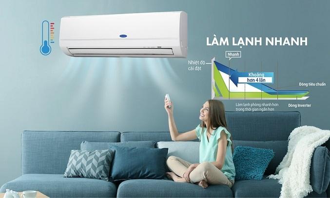 Máy lạnh Carrier Inverter 1 HP 38GCVBE010-703V/42GCVBE010-703V - Làm lạnh nhanh
