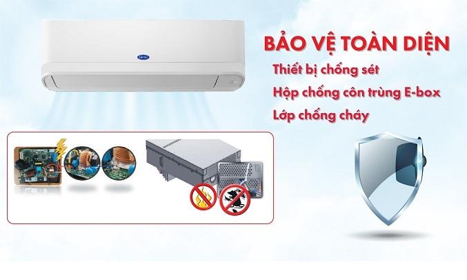 Máy lạnh Carrier Inverter 1.5 HP 38GCVBE013-703V/42GCVBE013-703V - Bảo vệ toàn diện