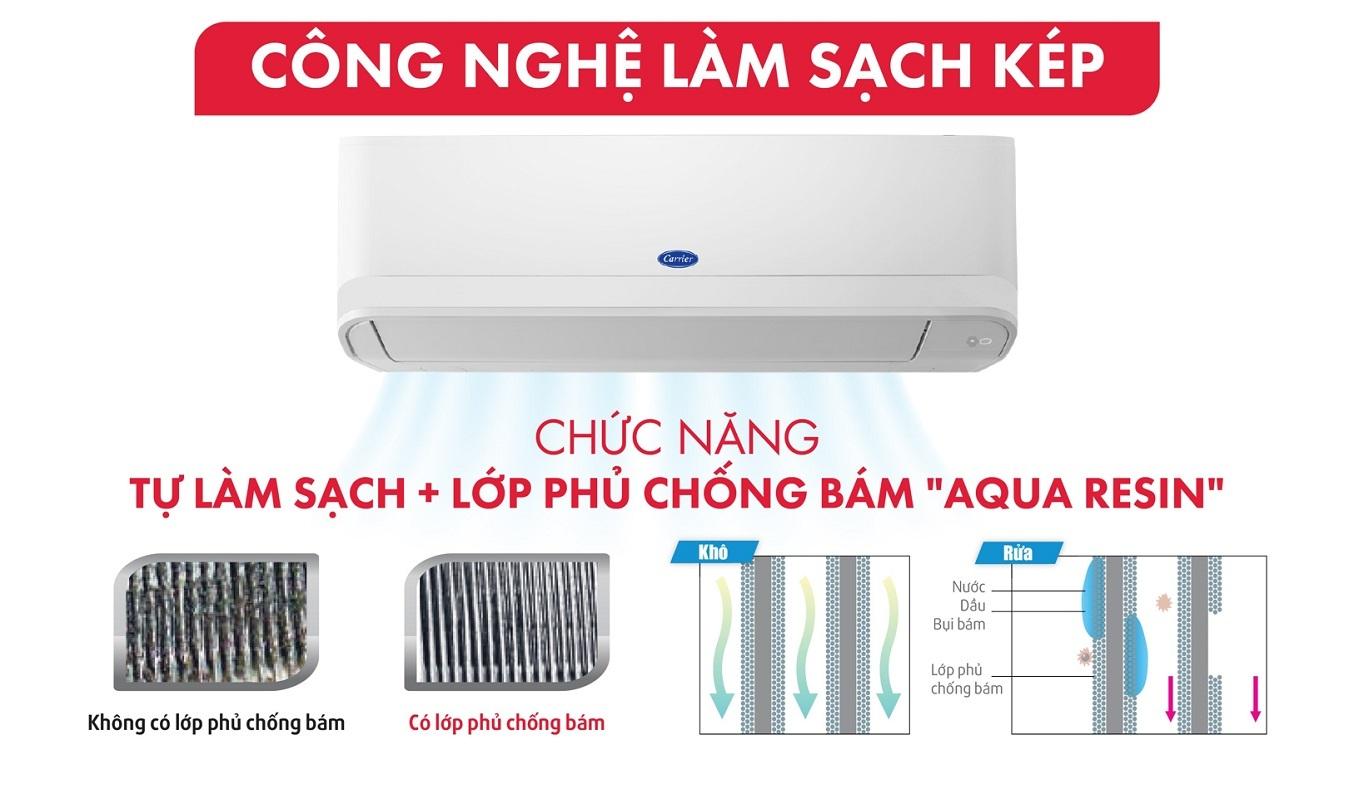 Máy lạnh Carrier Inverter 1.5 HP 38GCVBE013-703V/42GCVBE013-703V - Công nghệ làm sạch kép