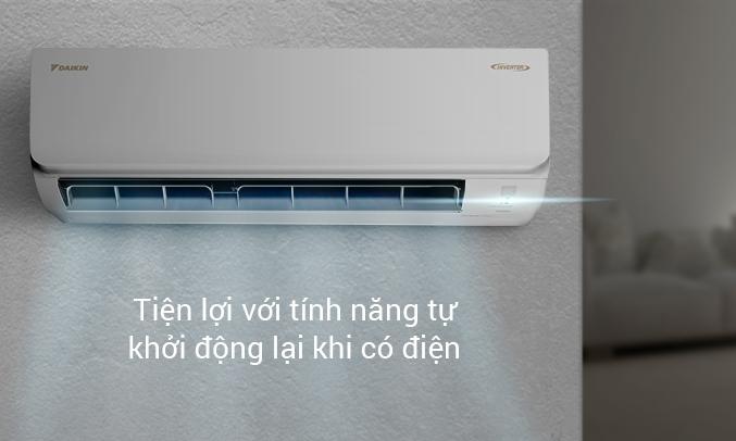 Máy lạnh Daikin Inverter 1.5 HP ATKA35UAVMV - Tự khởi động lại khi có điện