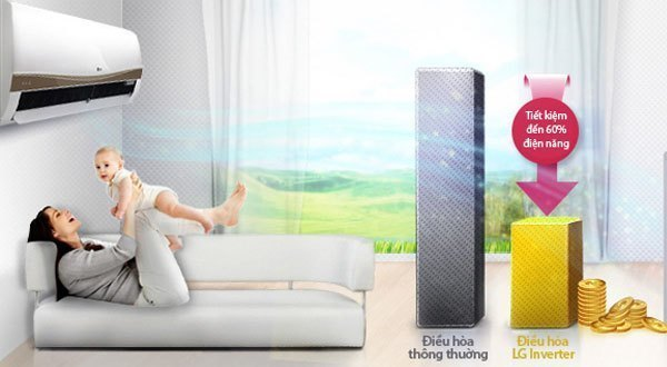 Công nghệ inverter V trên máy lạnh LG V13APM giúp tiết kiệm điện năng