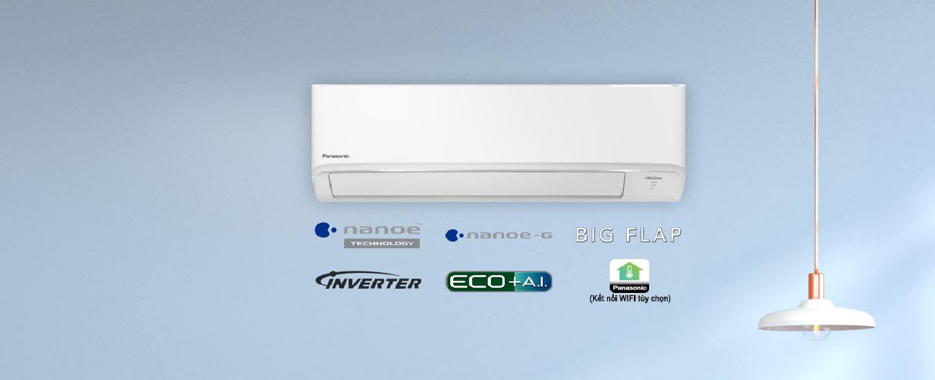 Máy lạnh Panasonic Inverter 1 HP CU/CS-PU9WKH-8MThiết kế hiện đại