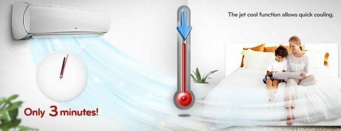 Với máy lạnh LG, chỉ cần vài phút bạn đã có thể tận hưởng luồng không khí mát lạnh