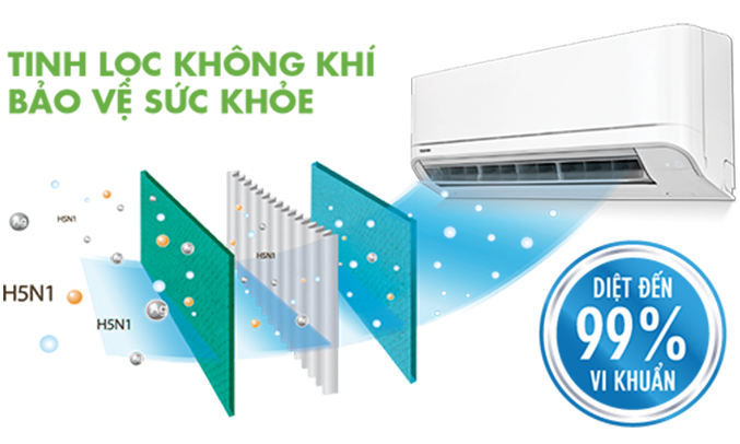 Máy lạnh Toshiba 1 HP RAS-H10U2KSG-V chống bám bụi