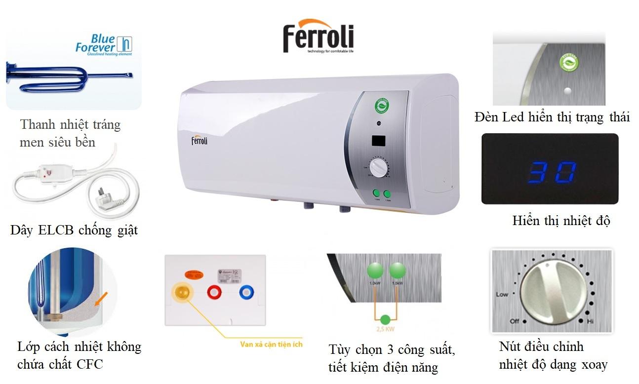 Máy nước nóng Ferroli VERDI 30L SE Điều chỉnh nhiệt độ dễ dàng