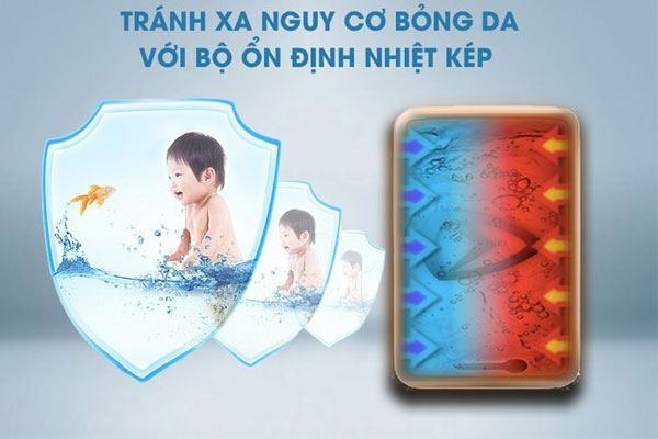 Kiểm soát nhiệt hiệu quả trên máy nước nóng trực tiếp sẽ cực kỳ phù hợp nếu nhà bạn có em bé với làn da nhạy cảm