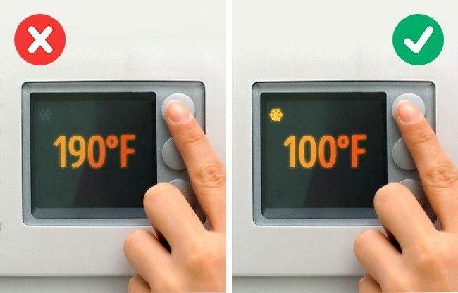 Không giặt quần áo ở nhiệt độ nước quá nóng