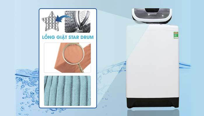 Lồng giặt Start Drum trên máy giặt Sharp giúp quần áo mềm mại