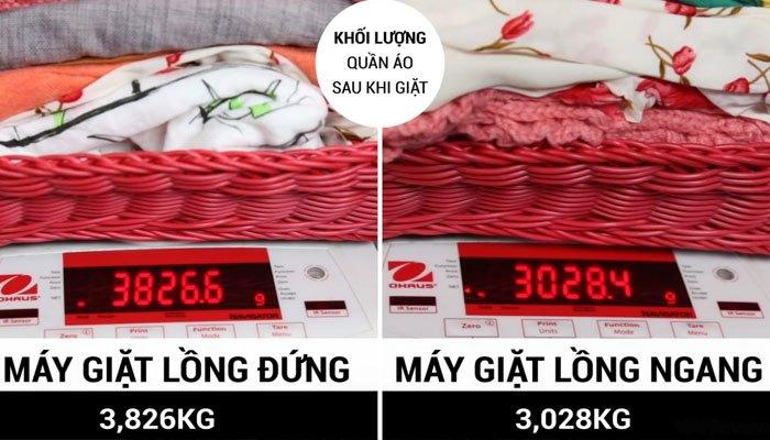 So sánh độ vắt của máy giặt lồng đứng và lồng ngang