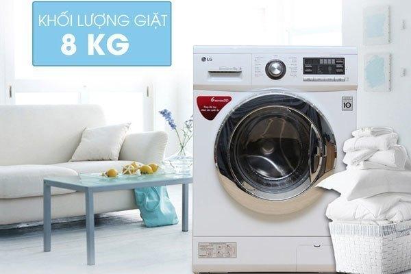 Máy giặt LG F1408NM2W nhỏ gọn, dung tích giặt 8kg thích hợp cho nhà chật