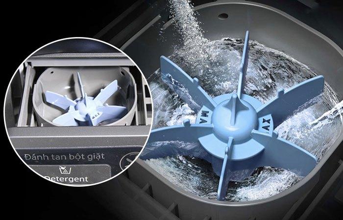 Không lo bám cặn bột với hộp đánh tan bột giặt trên máy giặt Inverter Samsung