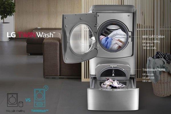 2 lồng giặt trên dưới của máy giặt LG TWIN Wash cho bạn tiện lợi hơn trong việc giặt giũ