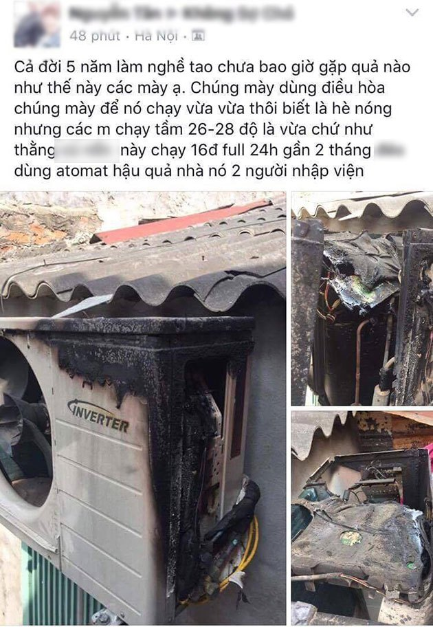 Dàn nóng bị cháy do mở mở máy lạnh liên tục trong 2 tháng