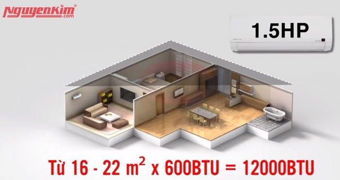 Chọn máy lạnh công suất 12000 BTU cho phòng vừa