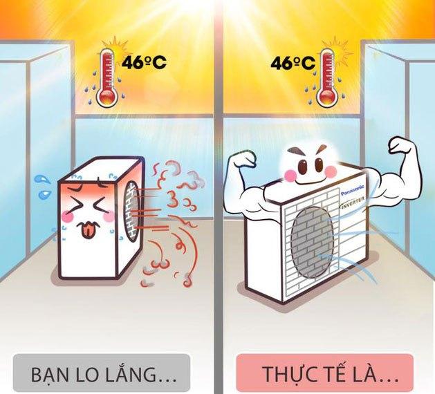 Máy lạnh vẫn hoạt động bình thường cho dù nhiệt độ ngoài trời cao