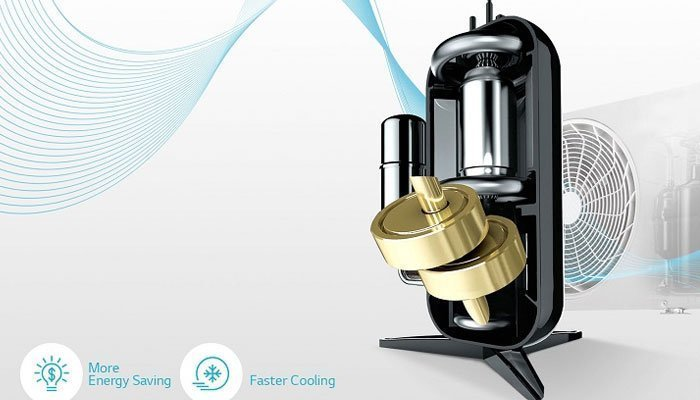 Máy lạnh LG tiết kiệm năng lượng với máy nén Dual Inverter