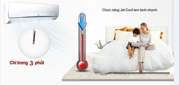 Công nghệ làm lạnh nhanh Jet Cool được trang bị trên máy lạnh giúp làm lạnh nhanh chóng