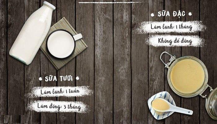 Bạn nhớ phân biệt rõ sữa tươi và sữa đặc để bảo quản trong tủ lạnh cho tốt nhé!
