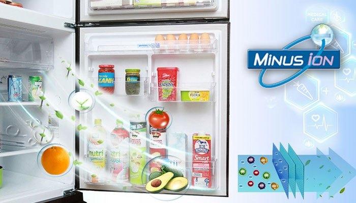 Tủ lạnh Mitsubishi trang bị hệ thống Minus Ion giúp khử mùi, kháng khuẩn