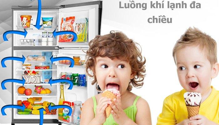Chiếc tủ lạnh Aqua này còn có luồng khí lạnh đa chiều làm lạnh nhanh và đều thực phẩm