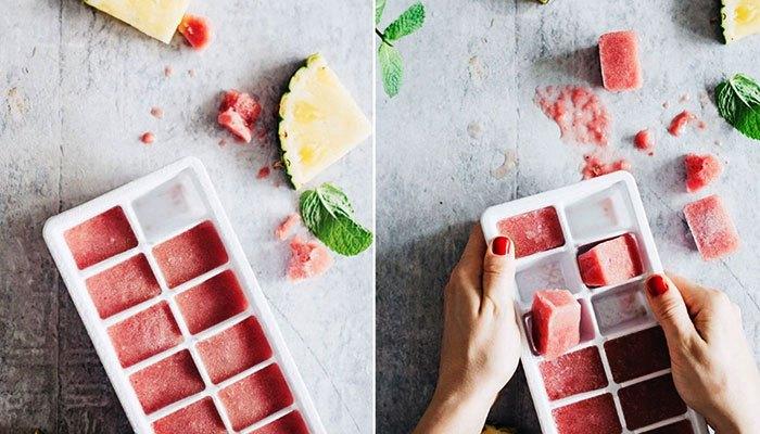 Rửa mặt bằng nước đá hoa quả được đông trong tủ lạnh cho da đẹp hơn