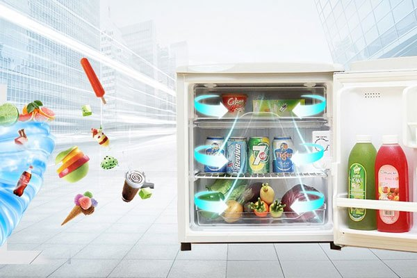 Tủ lạnh AquaAQR-55AR có ngăn đá nhỏ phía trên giúp bạn bảo quản thịt, cá