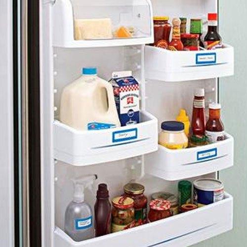 Gắn nhãn trên những ngăn đựng trên cánh cửa tủ lạnh