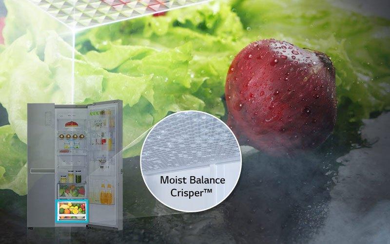 Lưới mắt cáo trên tủ lạnh side by side LG giúp bảo quản rau củ tươi ngon lâu hơn