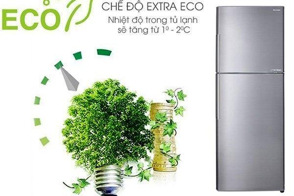 Điện năng được tiết kiệm hiệu quả hơn nhờ công nghệ Extra Eco được tích hợp trên tủ lạnh Sharp