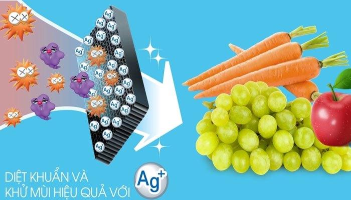 Thực phẩm sẽ được tươi ngon nhờ công nghệNano Ag+ của tủ lạnh Sharp